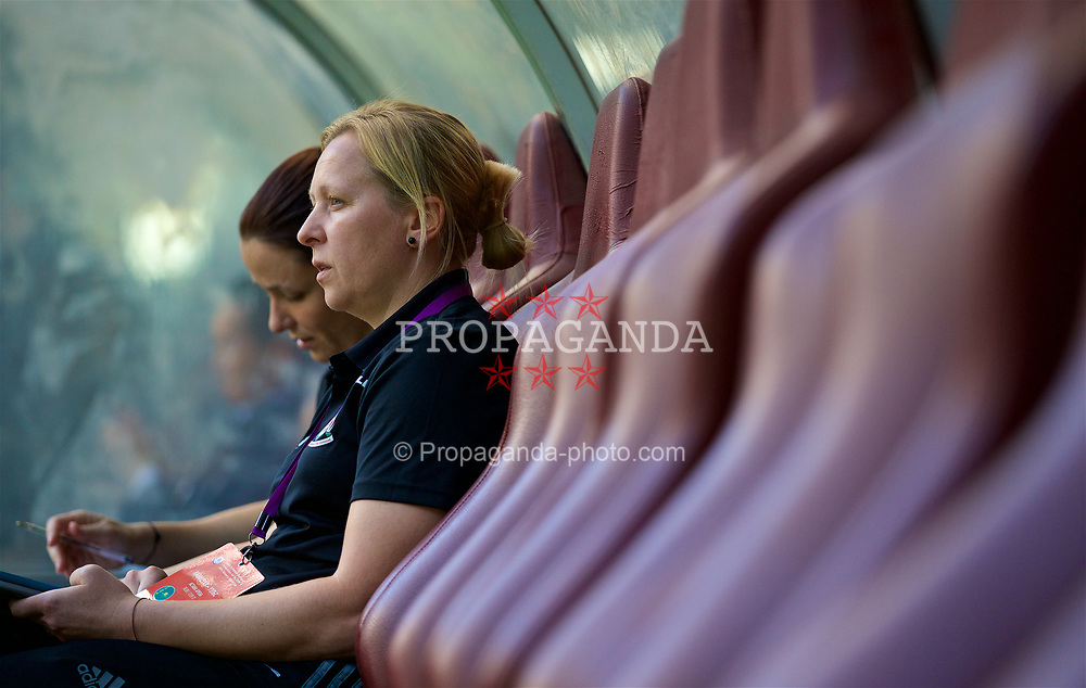 ASTANA, KAZAKHSTAN - Sunday, September 17, 2017: Wales' manager Jayne Ludlow before the FIFA Women's World Cup 2019 Qualifying Round Group 1 match between Kazakhstan and Wales at the Astana Arena. (Pic by David Rawcliffe/Propaganda)