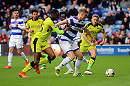 Queens Park Rangers striker Matt Smith (17) battles for possession with Rotherham United defender Semi Ajayi (15) during the EFL Sky Bet Championship match between Queens Park Rangers and Rotherham United at the Loftus Road Stadium, London, England on 18 March 2017. Photo by Matthew Redman.