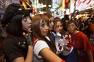 October 29, 2016, Tokyo, Japan: In the Shibuya district, the heart of Japanese youth culture, Halloween celebrations have exploded in the past few years. Up until this boom, Halloween celebrations were minimal across the city. But Shibuya has now become Halloween central with tens of thousands of costumed party goers invading it's streets to promenade en-costume or hit club events in the area. This informal street gathering has become so big, this year the Tokyo Metropolitan Police Dept. decided to close off two main streets adjacent to Shibuya Station. Some of the most popular costumes worn by the ladies this year was cosplay, zombie and princess uniforms. When Oct. 31 falls on a weekday, ninety percent of Halloween celebrations across Japan take place on the preceding Saturday. (Torin Boyd/Polaris).