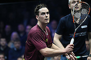 Paul Coll of New Zealand (wearing a Maroon shirt) in action during his match against James Willstrop of England . Canary Wharf Squash Classic 2016 , day two at the East Wintergarden in Canary Wharf , London on Tuesday 8th March 2016.<br /> pic by John Patrick Fletcher, Andrew Orchard sports photography.