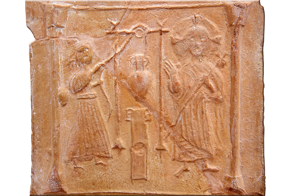 Detail of a 6th-7th Century Eastern Roman Byzantine  Christian Terracotta tiles depicting Christ changing Water into wine - Produced in Byzacena -  present day Tunisia. <br /> <br /> These early Christian terracotta tiles were mass produced thanks to moulds. Their quadrangular, square or rectangular shape as well as the standardised sizes in use in the different regions were determined by their architectonic function and were designed to facilitate their assembly according to various combinations to decorate large flat surfaces of walls or ceilings. <br /> <br /> Byzacena stood out for its use of biblical and hagiographic themes and a richer variety of animals, birds and roses. Some deer and lions were obviously inspired from Zeugitana prototypes attesting to the pre-existence of this province's production with respect to that of Byzacena. The rules governing this art are similar to those that applied to late Roman and Christian art with, in the case of Byzacena, an obvious popular connotation. Its distinguishing features are flatness, a predilection for symmetrical compositions, frontal and lateral representations, the absence of tridimensional attitudes and the naivety of some details (large eyes, pointed chins). Mass production enabled this type of decoration to be widely used at little cost and it played a role as ideograms and for teaching catechism through pictures. Painting, now often faded, enhanced motifs in relief or enriched them with additional details to break their repetitive monotony.<br /> <br /> The Bardo National Museum Tunis, Tunisia.  Against a white background.