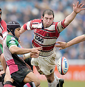 2004/05 Zurich Premiership,NEC Harlequins vs Gloucester, The Stoop,Twickenham, ENGLAND:<br /> Gloucester's prop Terry Sigley dives in to block Quins scrum half Steve So'oialo attempted clearance kick from the back of the scrum<br /> <br /> Twickenham. Surrey, UK., 5th February 2005, Zurich Premiership Rugby,  The Stoop,  [Mandatory Credit: Peter Spurrier/Intersport Images],