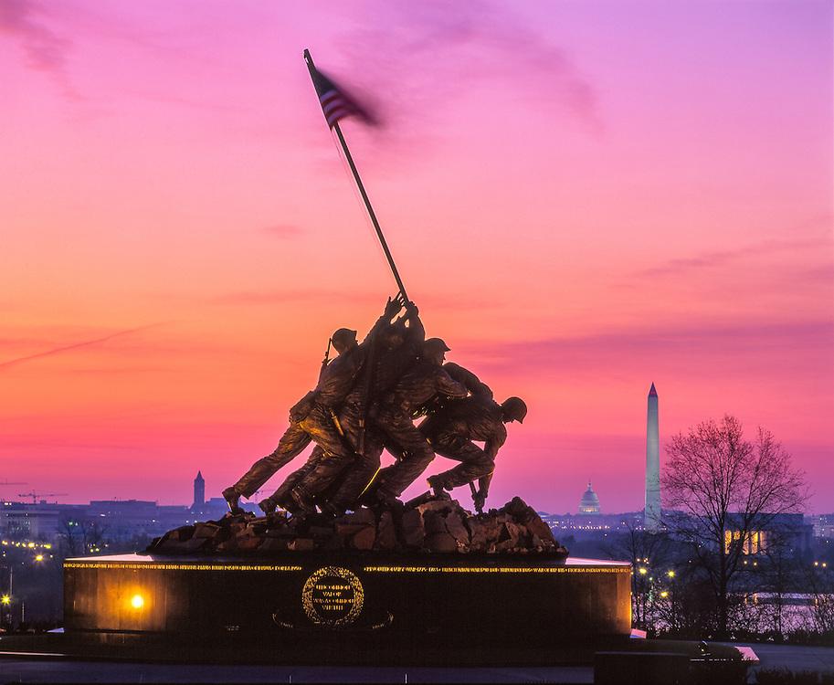 Iwo Jima Memorial, dawn, w/ Washington DC in background, Arlington, VA
