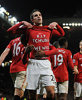 Robin Van Persie Celebrates Scoring 2nd goal (With Message on his shirt which Reads R.I.P Tchuna We Will Never Forget You)<br />Manchester United 2012/13<br />Manchester United V West Bromwich Albion (2-0) 29/12/12<br />The Premier League<br />Photo: Robin Parker Fotosports International