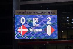 Slutresultatet på lystavlen efter UEFA Nations League kampen mellem Danmark og Belgien den 5. september 2020 i Parken, København (Foto: Claus Birch).