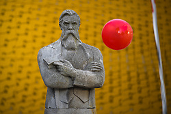 © Licensed to London News Pictures . 16/07/2017 . Manchester , UK . Newly unveiled statue of Friedrich Engels at Tony Wilson Place . The closing event of the Manchester International Festival at Home arts venue (formally the Cornerhouse) in Manchester City Centre , featuring dance, music, socialist workshops , all in the shadow of the newly unveiled statue of Friedrich Engels , at Tony Wilson Place . Photo credit : Joel Goodman/LNP
