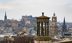 View of city of Edinburgh from Calton Hill viewpoint, Scotland, UK