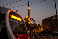 The mosque in Cumhurriyet Meydani, Kayseri, Turkey. The city has seen vast developments in recent years, including an expansive tram network.