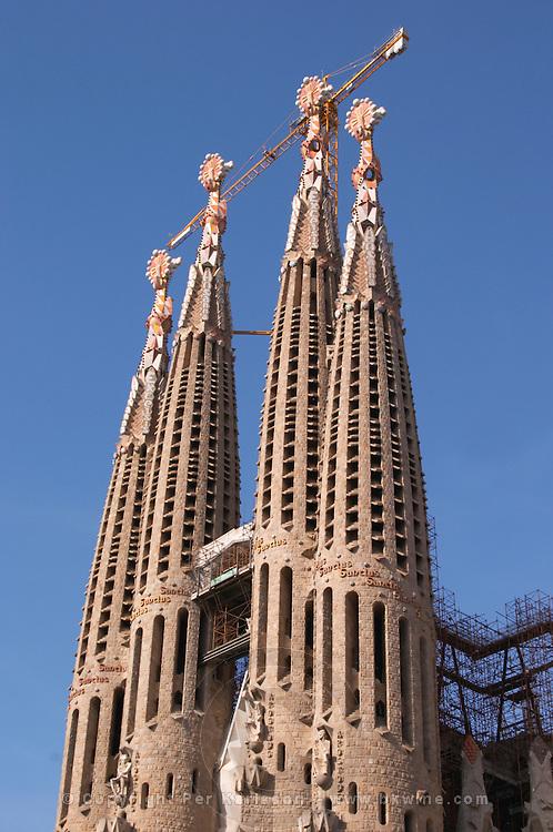 Sagrada Familia towers and crane. Barcelona, Catalonia, Spain.