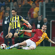 Galatasaray's Bogdan Sorin STANCU (R) and Fenerbahce's Gokhan GONUL (L) during their Turkish superleague soccer derby match Galatasaray between Fenerbahce at the Turk Telekom Arena in Istanbul Turkey on Friday, 18 March 2011. Photo by TURKPIX