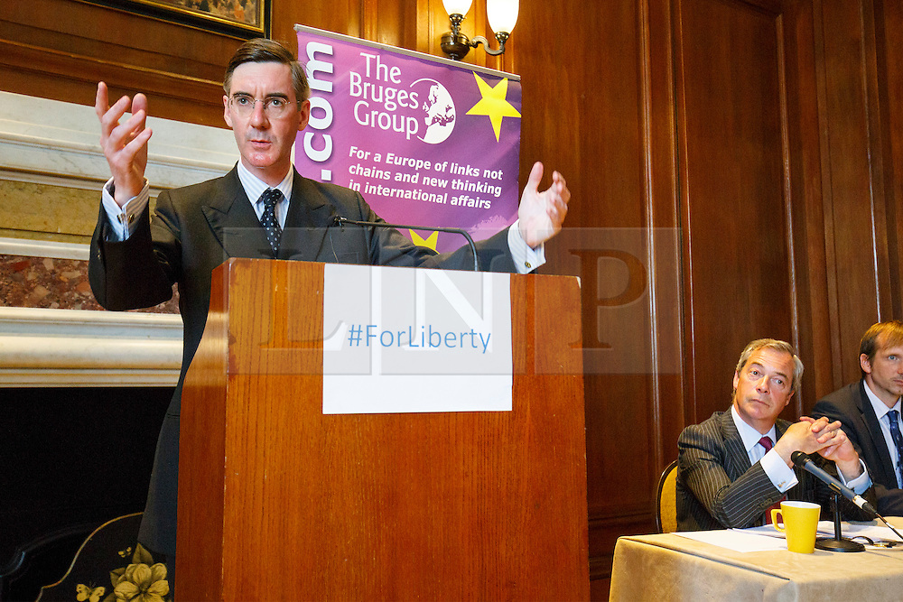 © Licensed to London News Pictures. 17/05/2016. London, UK. Conservative MP JACOB REES-MOGG and UKIP Leader NIGEL FARAGE speaking at a Bruges Group event, focusing on the issues surrounding the European Arrest Warrant at County Hall in London on Tuesday, 17 May 2016. Photo credit: Tolga Akmen/LNP