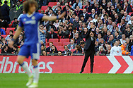 Chelsea manager Antonio Conte ® shouts at his players from the touchline. The Emirates FA Cup semi-final match, Chelsea v Tottenham Hotspur at Wembley Stadium in London on Saturday 22nd April 2017.<br /> pic by Carl Robertson,  Andrew Orchard sports photography.