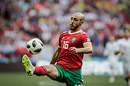 Noureddine Amrabat of Morocco during the 2018 FIFA World Cup Russia, Group B football match between Portugal and Morocco on June 20, 2018 at Luzhniki stadium in Moscow, Russia - Photo Thiago Bernardes / FramePhoto / ProSportsImages / DPPI