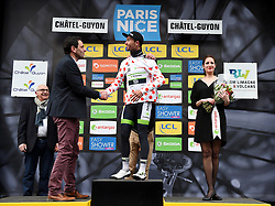 March 6, 2018 - Chatel-Guyon, FRANCE - French Pierre-Luc Perichon of Team Fortuneo-Samsic celebrates on the podium in the red polka-dot jersey for best climber after the third stage of the 76th edition of Paris-Nice cycling race, 210km from Bourges to Chatel-Guyon, France, Tuesday 06 March 2018. The race starts on the 4th and ends on the 11th of March. BELGA PHOTO DAVID STOCKMAN (Credit Image: © David Stockman/Belga via ZUMA Press)