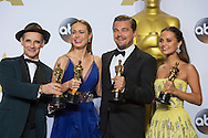 88th Academy Awards press room.<br /> Leonardo DiCaprio, Brie Larson, Mark Rylance, and Alicia Vikander.