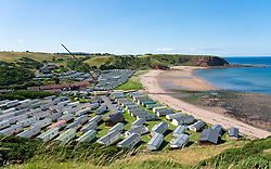 View of Pease Bay Leisure Park and beach on Berwickshire coast, Scotland, UK.