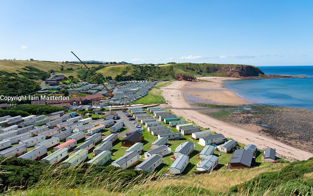 View of Pease Bay Leisure Park and beach on Berwickshire coast, Scotland, UK.