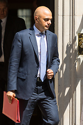 London, June 20th 2017. Communities and Local Government Secretary Sajid Javid leaves the weekly cabinet meeting at 10 Downing Street in London.