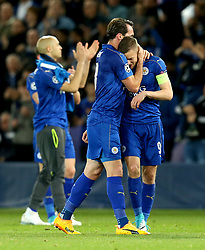 Christian Fuchs of Leicester City hugs a dejected Jamie Vardy of Leicester City after the defeat to Atletico Madrid in the UEFA Champions League Quarter-Final  - Mandatory by-line: Robbie Stephenson/JMP - 18/04/2017 - FOOTBALL - King Power Stadium - Leicester, England - Leicester City v Atletico Madrid - UEFA Champions League Quarter-Final Second Leg