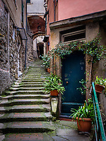 VERNAZZA, ITALY - CIRCA MAY 2015:  Typical door and alleway of Vernazza in  Cinque Terre, Italy.