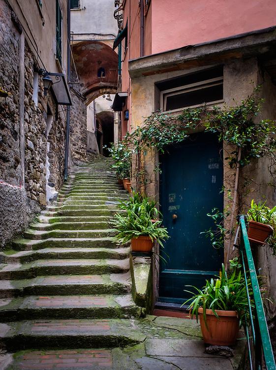 VERNAZZA, ITALY - CIRCA MAY 2015:  Typical door and alleway of Vernazza in  Cinque Terre, Italy.