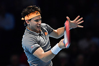 Tennis - 2019 Nitto ATP Finals at The O2 - Day Five<br /> <br /> Singles Group Bjorn Borg: Dominic Thiem (Austria) vs. Matteo Berrettini (Italy)<br /> <br /> Dominic Thiem in action during his 2 set defeat to Matteo Berrettini, 7-6, 6-3<br /> <br /> COLORSPORT/ASHLEY WESTERN