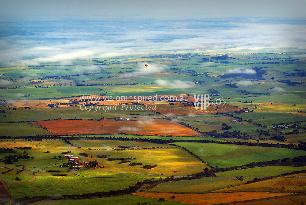 View from hot air balloon, Northam, Western Australia