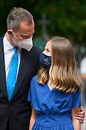 King Felipe VI of Spain, Crown Princess Leonor attends for The Confirmation of Princess Leonor at Asuncion de Nuestra Senora Church  on May 28, 2021 in Madrid, Spain