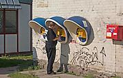 Polish outdoor telephones and mailbox. Lutomierska Street Balucki District Lodz Central Poland