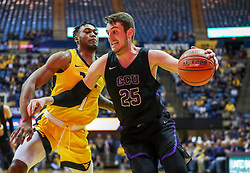 Mar 20, 2019; Morgantown, WV, USA; Grand Canyon Antelopes center Alessandro Lever (25) drives baseline during the first half against the West Virginia Mountaineers at WVU Coliseum. Mandatory Credit: Ben Queen