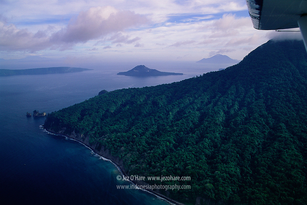 Mount Rakata & Mount Anak Krakatau, Sunda Straits, Lampung, Sumatra, Indonesia.