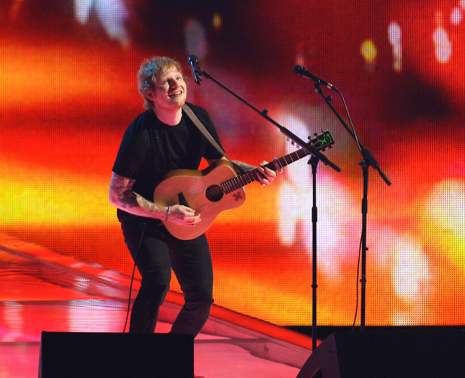 Brit awards 2015 at 02 arena . Pictured Ed Sheeran .Pic Dave Nelson