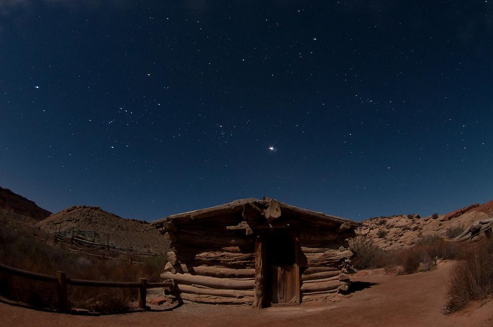 Wolfe Ranch under Moonlight (Fisheye), Arches National Park, Utah, US
