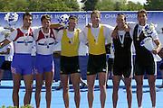 © Peter Spurrier/Sports Photo .email pictures@rowingpics.com tel +44 7973 819 551.Photo  Peter Spurrier.30/08/2003 Saturday.2003 World Rowing Championships, Idroscala. Milan, Italy.  {A Finals] .Left to right CRO M2- Silver medallist Niksa Skelin, Sinsia Skelin, - AUS M2- Gold Medallist Drew Ginn James Tomkins, - RSA M2- Bronze Medallist Donovan Cech , Ramone Di Clemente...... Milan. ITALY 2003 World Rowing Championships. Idro Scala Rowing Course. [Mandatory Credit: Peter Spurrier: Intersport Images.]