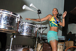 July 2, 2018 - FL, USA - Brazil supporter Vanessa Joyce dances samba during halftime of the FIFA World Cup Round of 16 knockout stage watch party featuring Brazil versus Mexico at Vares in Brickell on Monday, July 2, 2018. (Credit Image: © Sam Navarro/TNS via ZUMA Wire)