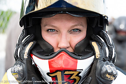 Brittney Olsen racing in the Sons of Speed Vintage Motorcycle Races at New Smyrina Speedway. New Smyrna Beach, USA. Saturday, March 9, 2019. Photography ©2019 Michael Lichter.