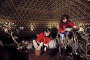 Biosphere 2 Project undertaken by Space Biosphere Ventures, a private ecological research firm funded by Edward P. Bass of Texas.  'Biospherian's Abigail Alling and Linda Leigh in the desert biome of Biosphere 2.  Biosphere 2 was a privately funded experiment, designed to investigate the way in which humans interact with a small self-sufficient ecological environment, and to look at possibilities for future planetary colonization. 1990
