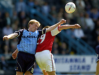 Photo: Richard Lane.<br />Coventry City v Rotherham United. Nationwide Division One. 24/04/2004.<br />Steve Staunton heads clear.