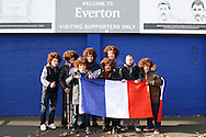 Aston Villa fans show their support for the people of France before k/o. Barclays Premier League match, Everton v Aston Villa at Goodison Park in Liverpool on Saturday 21st November 2015.<br /> pic by Chris Stading, Andrew Orchard sports photography.