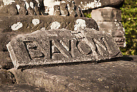 The carved name plate of The Bayon temple in the walled city of Angkor Thom, Siem Reap, Cambodia