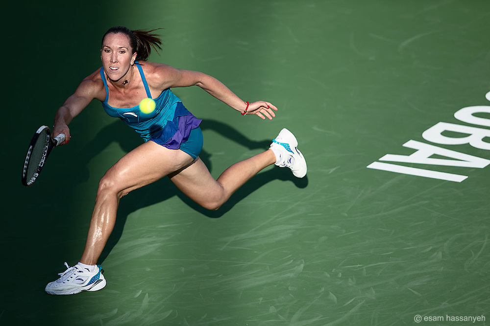 The athletic Helena Jankovic playing at the Barclays Ladies tennis in Dubai.