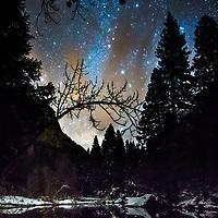 Stars above Yosemite and the Merced River.  © John McBrayer
