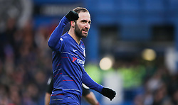 Chelsea's Gonzalo Higuain celebrates scoring his side's fourth goal of the game during the Premier League match at Stamford Bridge, London.