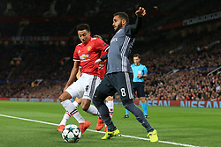 31st October 2017 - UEFA Champions League - Group A - Manchester United v SL Benfica - Douglas of Benfica battles with Jesse Lingard of Man Utd - Photo: Simon Stacpoole / Offside.