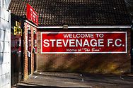 Ground shot of Stevenage FC signage and the turnstile doors shut during the EFL Sky Bet League 2 match between Stevenage and Bradford City at the Lamex Stadium, Stevenage, England on 5 April 2021.