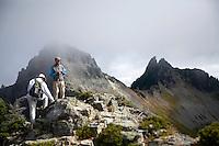 Two older men hiking in Mt. Rainier National Park.