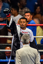 INGLEWOOD, CA - AUG 29: The 43-year-old Shane Mosley (48-9-1, 40 KOs) sent Nicaraguan pro boxer 41-year-old Ricardo  Mayorga (31-9-1)  to the canvas in the 2:59 minute  of the sixth round with a devastating body shot during their Mosley vs Mayorga 2 grudge match at the Great Forum in Los Angeles, CA. 2015 August 29. Byline, credit, TV usage, web usage or linkback must read SILVEXPHOTO.COM. Failure to byline correctly will incur double the agreed fee. Tel: +1 714 504 6870.