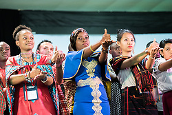 """10 March 2018, Arusha, Tanzania: """"Amen"""" in sign language, expressed during plenary session on Mission from the Margins. From 8-13 March 2018, the World Council of Churches organizes the Conference on World Mission and Evangelism in Arusha, Tanzania. The conference is themed """"Moving in the Spirit: Called to Transforming Discipleship"""", and is part of a long tradition of similar conferences, organized every decade."""