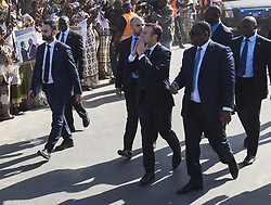 French President Emmanuel Macron, his wife Brigitte Macron and Senegalese President Macky Sall and his wife Marieme Faye Sall are seen in Saint-Louis, Senegal, on February 3, 2018, on the final day of of Macron's visit to Senegal. Photo by Eliot Blondet/ABACAPRESS.COM