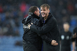 March 16, 2019 - Burnley, Lancashire, United Kingdom - BURNLEY, UK 16TH MARCH Brendan Rodgers the Leicester City manager celebrates with James Maddison after their second goal during the Premier League match between Burnley and Leicester City at Turf Moor, Burnley on Saturday 16th March 2019. (Credit: Mark Fletcher   MI News) (Credit Image: © Mi News/NurPhoto via ZUMA Press)